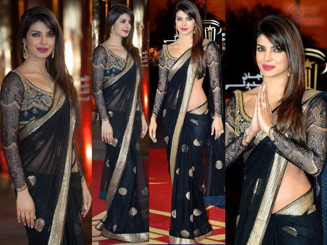 Priyanka Chopra schaffen magische schwarze Sari