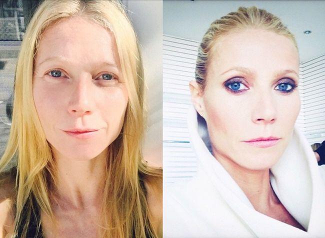 Gwyneth Paltrow hat diese selfies auf Instagram-one ohne Make-up und Make-up voll gebucht.